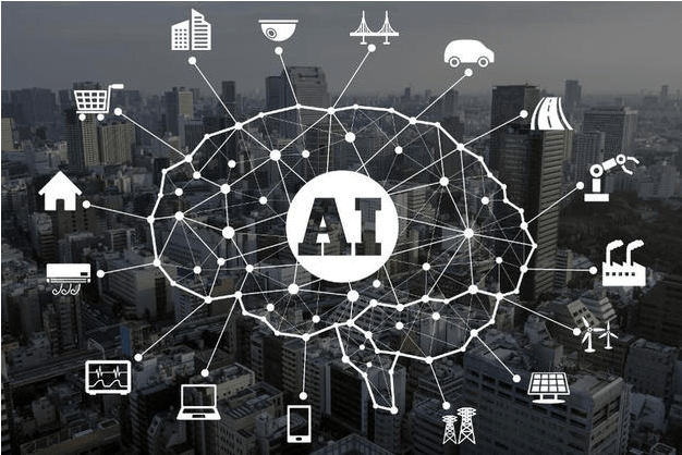 Sketch of brain with AI center and marketing icons outside