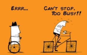 Cartoon of person riding a bike with square wheels