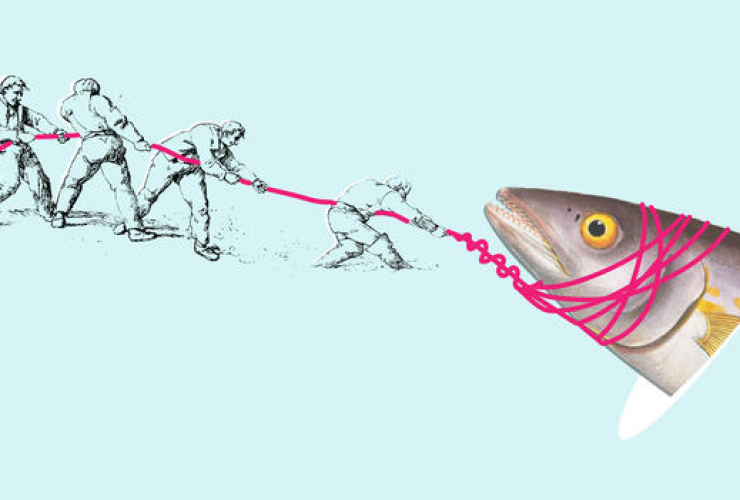 Men teaming up to reel in fish